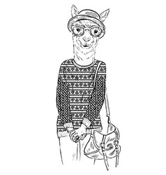 Hand drawn of hipster alpaca dressed up in vector image