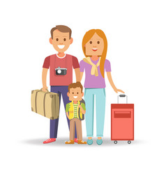 Happy family with full suitcases ready to travel vector