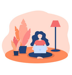 Happy women working at home with laptop in vector