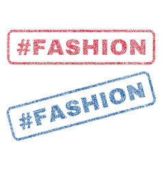 Hashtag fashion textile stamps vector