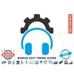 Headphones Configuration Gear Flat Icon With 2017 vector