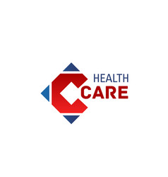 health care medical letter c icon vector image