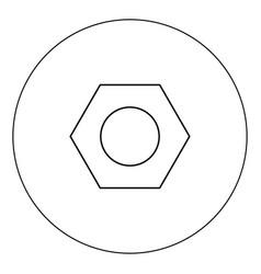 Hex nut icon black color in circle vector