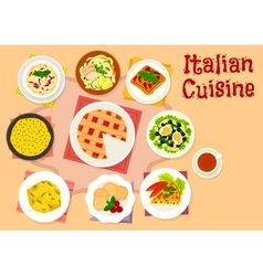 Italian cuisine lunch with dessert pie icon vector image