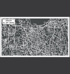Jakarta indonesia city map in retro style outline vector