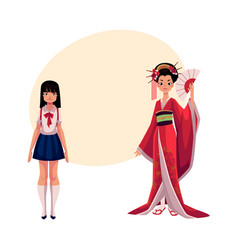 Japanese people - geisha in historical kimono and vector