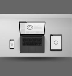 laptop or notebook black design mock up sync vector image