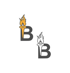 Letter b icon logo combined with torch icon design vector