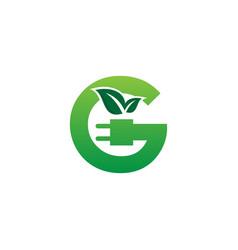 letter g green eco energy logo vector image