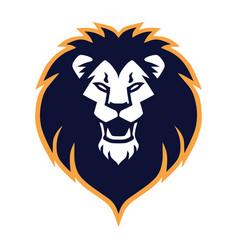 Lion head roaring logo mascot design vector