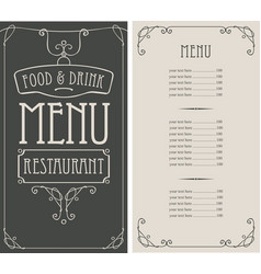 Menu for restaurant in curly frame in retro style vector