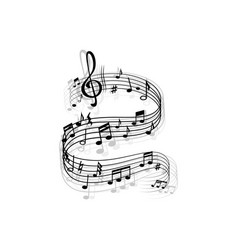 music wave musical notes melody swirl vector image