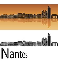 Nantes skyline in orange background vector