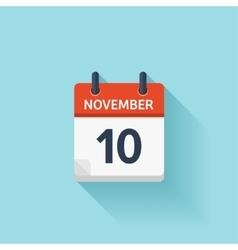 November 10 flat daily calendar icon vector image