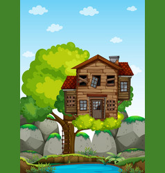 Old wooden treehouse on the tree vector