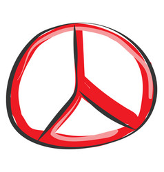 Painting mercedes logo in red color or color vector