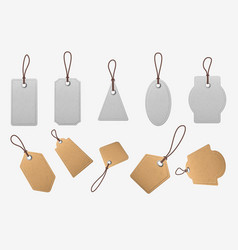 paper price tags realistic blank cardboard labels vector image