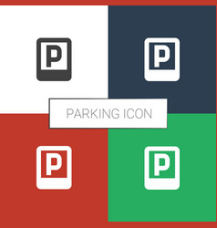 Parking icon white background vector