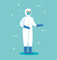 person with biohazard suit protection isolated vector image