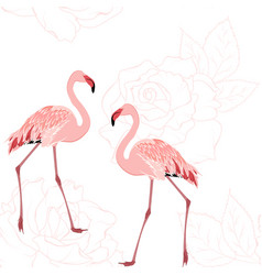 Pink flamingo birds rose flowers outline pattern vector