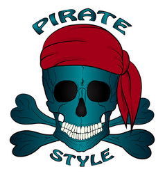 pirate skull bandana vector image