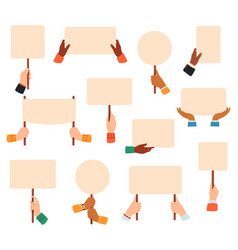 placards in hands protest or manifestation vector image