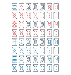 poker playing cards line icons set card vector image