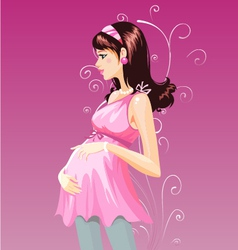 Pregnant woman in purple pregnant dress vector image
