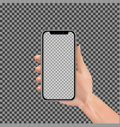 realistic hand holding smartphone with empty vector image