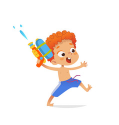redhead boy wearing swimming trunks run with a toy vector image
