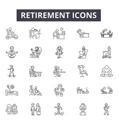 Retirement line icons signs set linear vector
