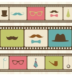 Retro background with film strips mustaches and vector image vector image