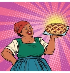 Retro old female African-American berry pie vector image