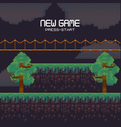 Retro videogame scenery with terrain pixelated vector
