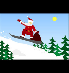 santa claus with a bag of gifts on a snowboard vector image