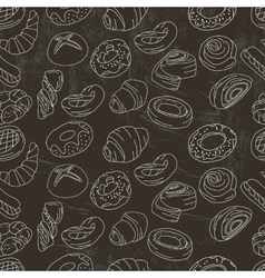 Seamless pattern with different pastry vector image