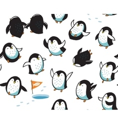 Seamless pattern with funny hand drawn penguins vector