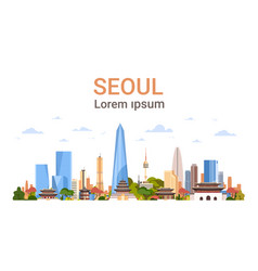 seoul city background skyline south korea view vector image