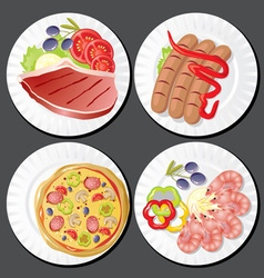 set food on plates vector image