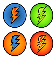 set of colorful lightning bolts in the circle vector image