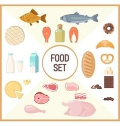 Set of flat food vector image