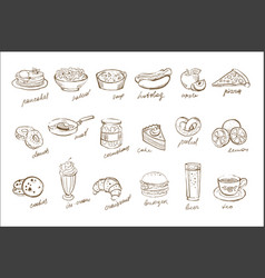 set of food and drinks elements with vector image