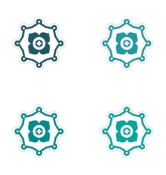 Set of stickers Indian symbols on white background vector