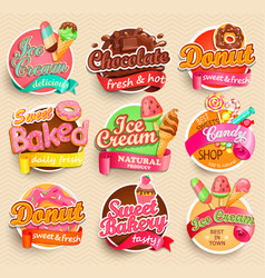 Set of sweet food labels vector
