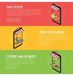 Set online food ordering banners Shipping and vector