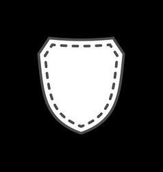 Shield shape icon white silhouette sign isolated vector