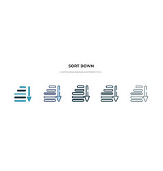 Sort down icon in different style two colored vector