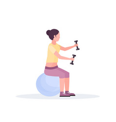 sporty woman sitting fitness ball girl holding vector image