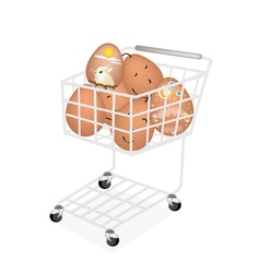 Stack of Easter Egg in Shopping Cart vector