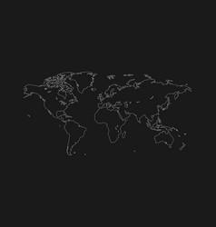 stylish flat contour map of the world vector image